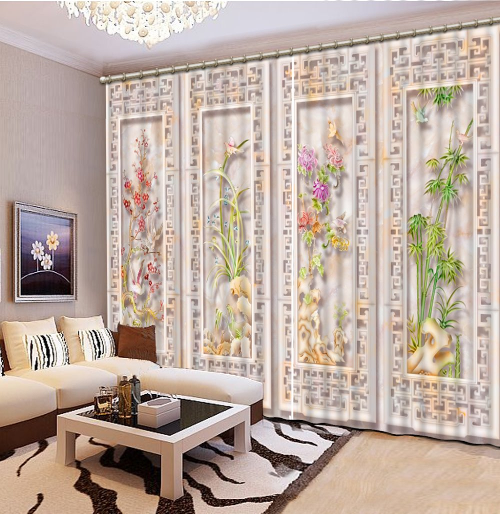 3D Curtains European Window Curtains For Living Room Carved Flowers For Bedroom  Blackout Curtains