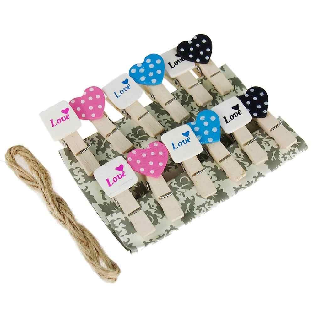 12Pcs Mini Yang Indah Hati Cinta Kayu Foto Kertas Peg Pin Jepitanku Kerajinan Klip Pesta Dekorasi Rumah Dekorasi Hadiah