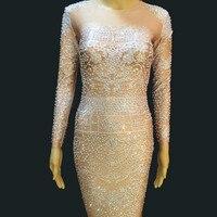 Sparkly Rhinestones Mesh Dress Women Birthday See Through Outfit Nightclub Female Singer Dresses Festival Party Dance Wear Dress