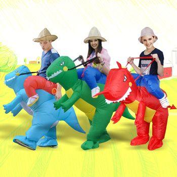 Ездовые костюмы Хэллоуин животных косплэй надувной костюм динозавра красные, синие зеленый фен управляемый для женские и мужские для мальч...