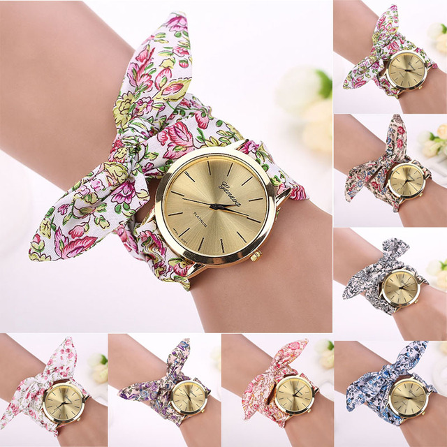 Design Ladies flower cloth wristwatch fashion women dress watch high quality fabric watch sweet girls Bracelet watch
