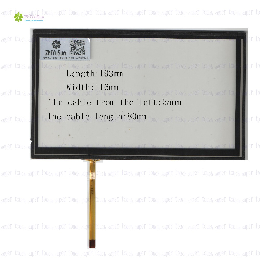 ZhiYuSun KDT-6597 8Inch 193mm*116mm 4Wire Resistive TouchScreen Panel Digitizer 193*116 this is compatible For CAR DVD zhiyusun 192mm 116mm kdt 6259 8inch 4 wire resistive touch panel for car dvd 192 116 gps navigator screen glass