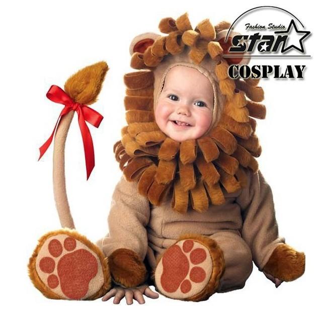 2016 Novo Bebê Pequeno Leão Traje Animal De Pelúcia Infantil Engraçado Partido Do Traje de Halloween Da Criança Macacão Extravagante Bonito Dos Miúdos Do Bebê Conjuntos