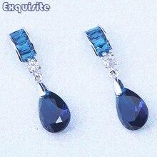 Fancy Blue Crystal Cheap Drop Dangle Earrings Cubic Zirconia Silver Color Women Trendy Fashion Jewelry Christmas Gift C0075