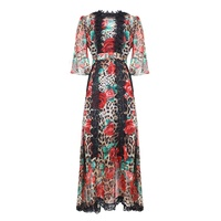 VERDEJULIAY Leopard Long dresses Designers High quality Runway Fashion Flare Sleeve Lace Patchwork Rose Printed Dress