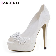 SARAIRIS New 12cm High Heel White Peep Toe Crystal Shallow Flower Platform Shoes For Women Autumn 2019 Sexy Pumps Big Size 33-43(China)