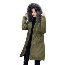 Фотография Big fur winter coat thickened parka women stitching slim long winter coat down cotton ladies down parka down jacket women