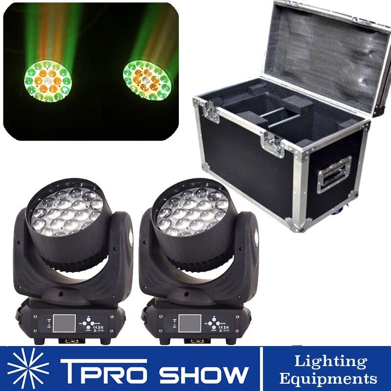 2Pcs 19x15W Zoom LED Moving Head Wash Light 1 Flight Case Packing Lyre Beam Zoom Lighting Effect Professional DJ Equipment Dmx