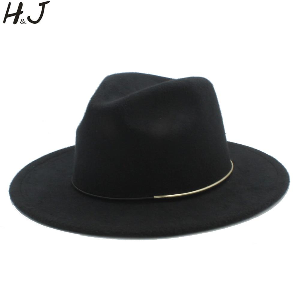 9c7e458b31b BINGYUANHAOXUAN Felt Hat Men Fedora Hats with Belt Women Vintage Trilby Caps  Wool Fedora Warm Jazz Hat Chapeau Femme .