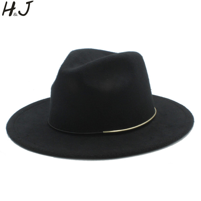 79b47a55c US $8.93 20% OFF|Vintage Wool Women Men Outback Fedora Hat For Winter  Autumn Lady Floppy Cloche Wide Brim Godfather Jazz Caps Size 56 58CM D20-in  ...