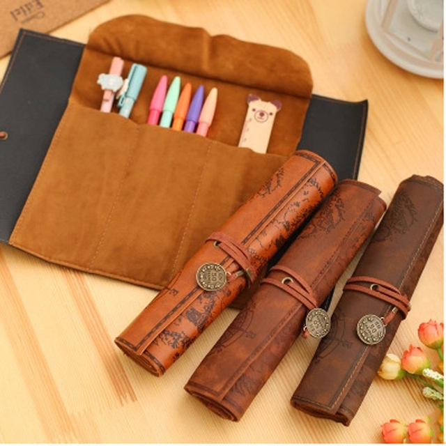 1pc Vintage Pencil Cases Creative Treasure Map Roll Up Pu Leather ...