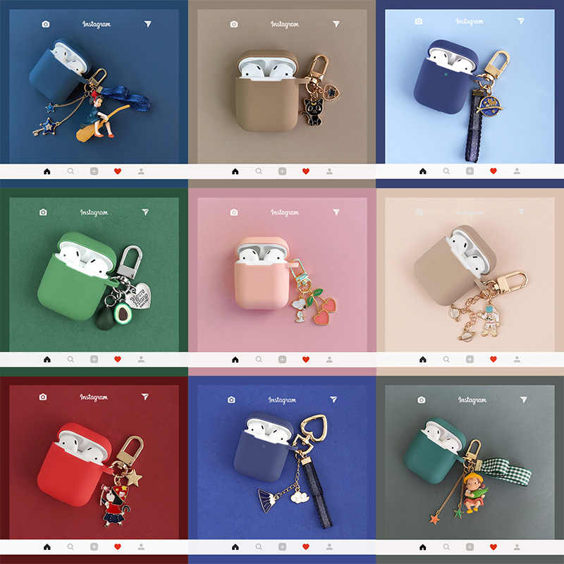 Luxury Cute Cartoon Pendant Decor Silicone Cases For Apple Airpods 1 2 Accessories Bluetooth Wireless Earphone Box Protect Cover