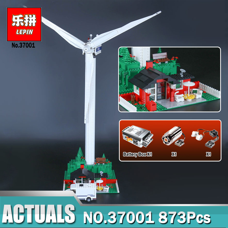 873Pcs Lepin 37001 Genuine Street Series Vestas Wind Turbine Children Building Blocks Bricks Toys Model Gifts LegoINGlys 4999 lepin 37001 creative series the vestas windmill turbine set children educational building blocks bricks toys model for gift 4999