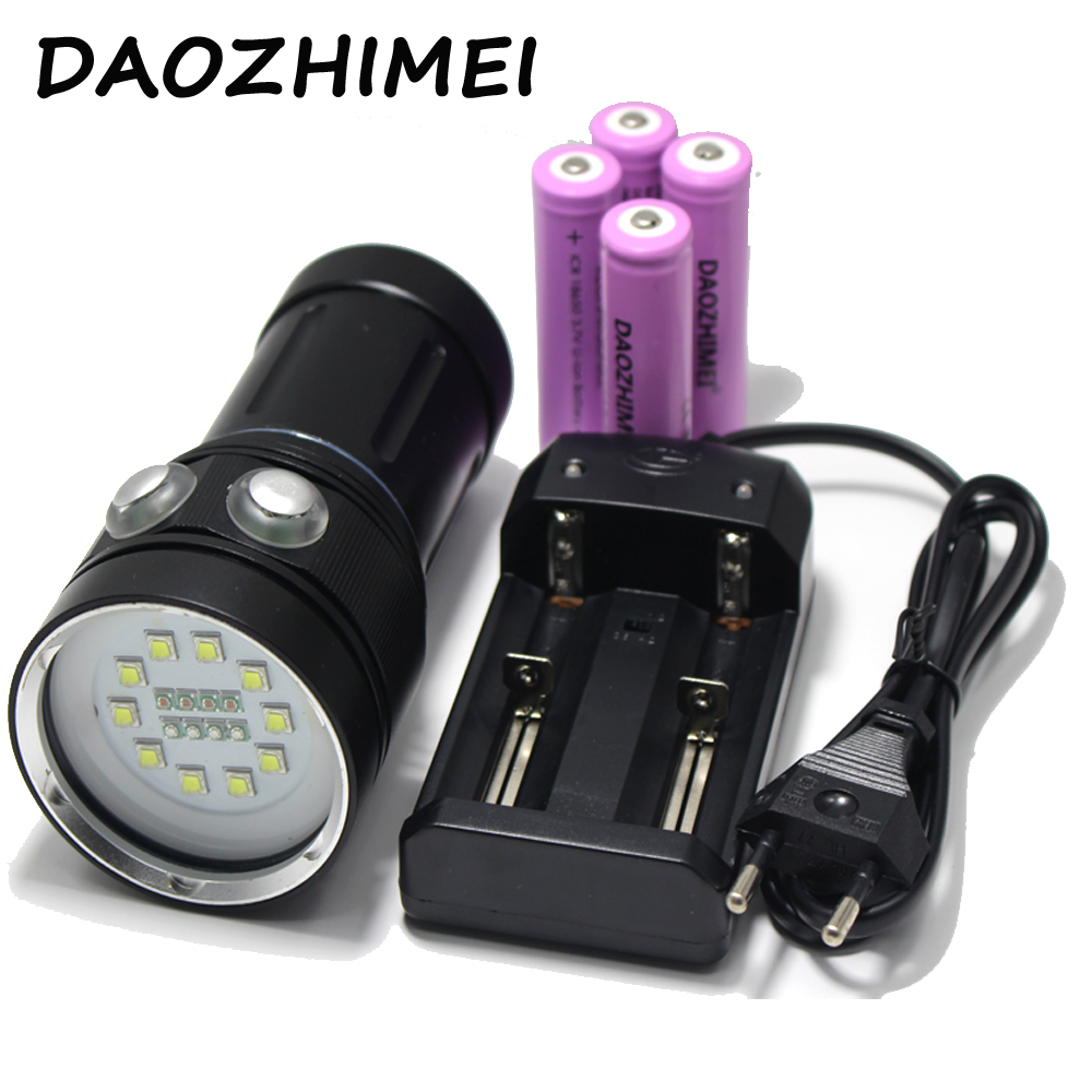 20000LM 10*XM-L2 White +4*Red +4*UV LED Scuba Diving Photography Waterproof Flashlight Torch Dive Underwater Light sport car style 2 led white light flashlight keychain w sound effect red 4 x lr41