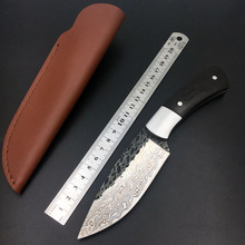 Handmade forged Damascus Steel  hunting knife fixed knife  ebony handle first layer packing with leather sheath все цены