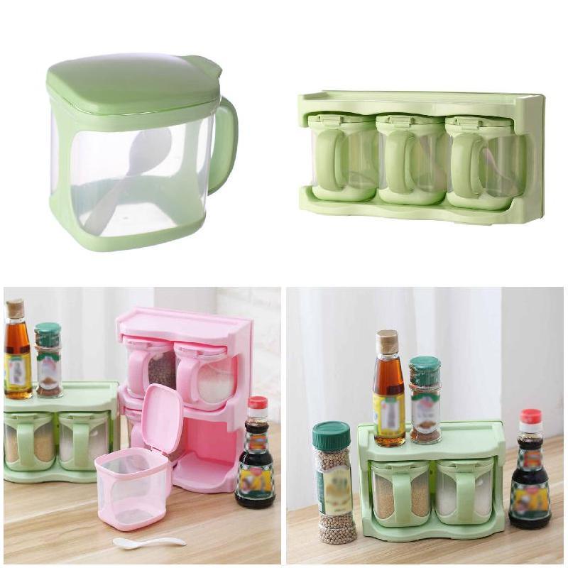 f38cee23166 Seasoning Box Storage Containers Condiment Plastic Spice Jars Dispenser For  Salt Sugar Cruet Spoon Kitchen Storage Container