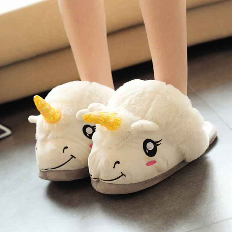 Unicorn Slippers Pantufa-Shoes Cartoon Indoor Home Fur Plush Chausson Unisex Cotton Adult