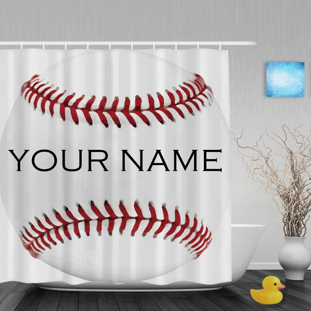 Sports shower curtains - Sport Baseball White Shower Curtain Custom Your Name Bathroom Shower Curtains Polyester Fabric With Hook