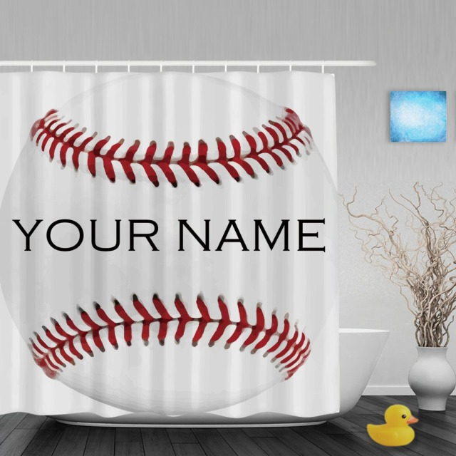 Sport Baseball White Shower Curtain Custom Your Name Bathroom Curtains Polyester Fabric With Hook
