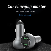 Mobile Phone Charger 2 USB Ports for Pad Camera QC3.0 36W Quick Charging Digital Display Lighter Slot Source