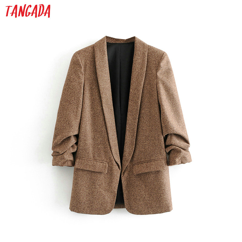 Tangada Korea Women Solid Blazer Winter Pockets Pleated Three Quarter Sleeve Outerwear Ladies Work Wear Suit Chic Tops 3H35