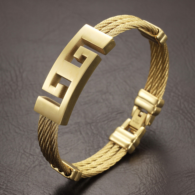 Full gold Color stainless steel men bracelet jewelry punk heavy metal bracelets bangles retro male accessories fashion gifts
