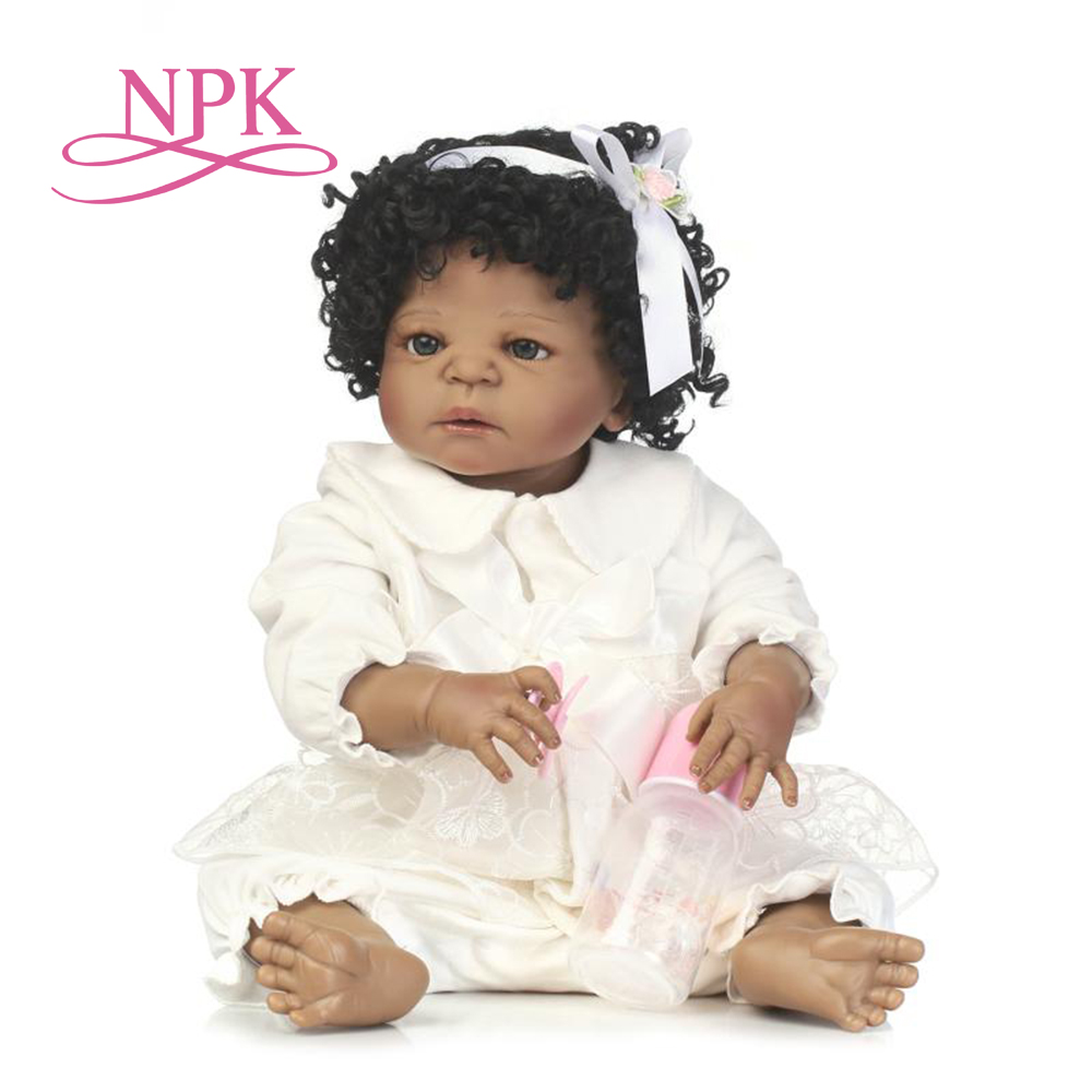 NPK 56cm New arrival black skin full silicone lifelike newborn baby girl best kids gifts full silicone reborn baby dolls
