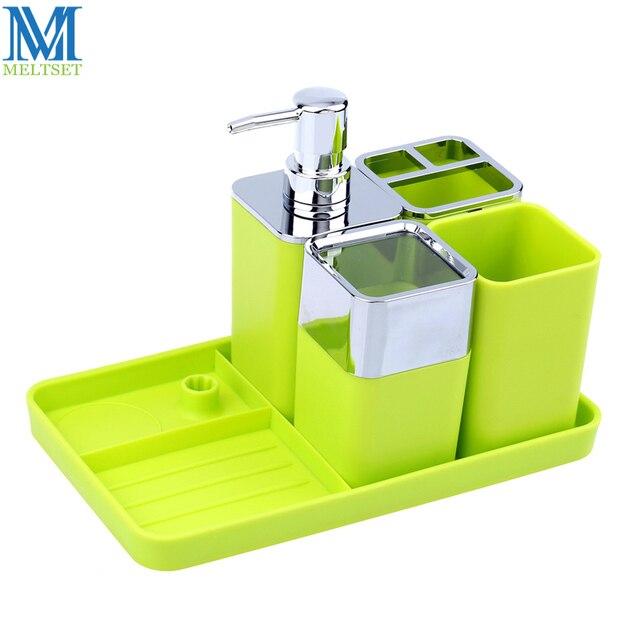5 pz Plastica Accessori Per il Bagno Dispenser di Sapone Set + ...