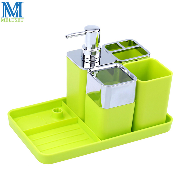 5pcs Plastic Bathroom Accessories Set Soap Dispenser Dish Tray Toothbrush Holder Tumblers