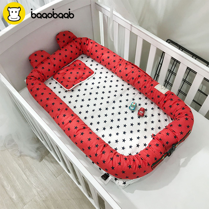 Baaobaab Erdc Cute Ear Cotton Baby Nest Bed Toddler Nest Portable Crib Baby Crib Babynest For Newborn Cradle Washable Bassinet