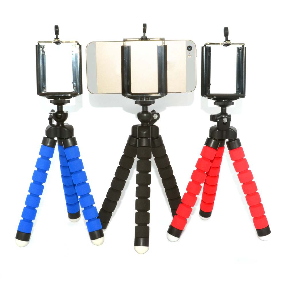 Newest Mini Tripod Flexible Octopus Holder Stand Spong Clip Universal For Mobile Phones Camera Black Blue Red OM1P