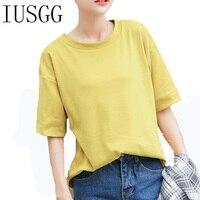 IUSGG פשוט פשוט Loose T צבע חולצה מוצקה נשים Tees כותנה רגיל קצר שרוול החולצה נקבה חולצות חולצות מזדמנים קיץ
