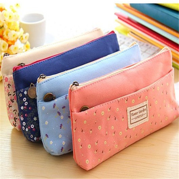 1PC 4 Colour Double Zipper Pencil Cases Pencils Portable Student Stationery Storage Pencil Bag For School Office Supplies