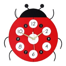 Cartoon fashion living room wall clock Creative wooden home Childrens decorated ladybug shape quartz
