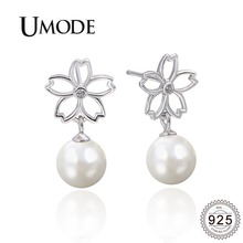 UMODE 2019 New White Pearl 925 Sterling Silver Drop Earrings for Women Hollow Flower Drops Gold Jewelry ALE0502