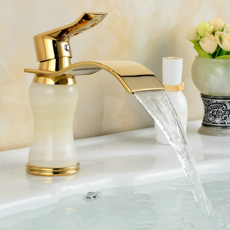 цена на Waterfall Faucet Gold Plate Basin Marble Stone Mixer Taps Bathroom Faucet Deck Mounted Tap M1026