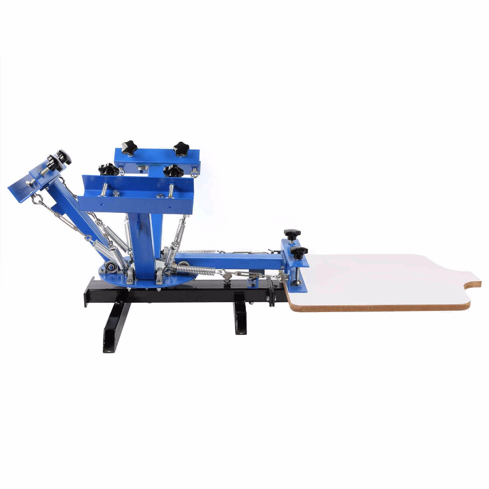 4 Color 1 Station Silk Screen Commercial Printing Press Machine Blue NS101