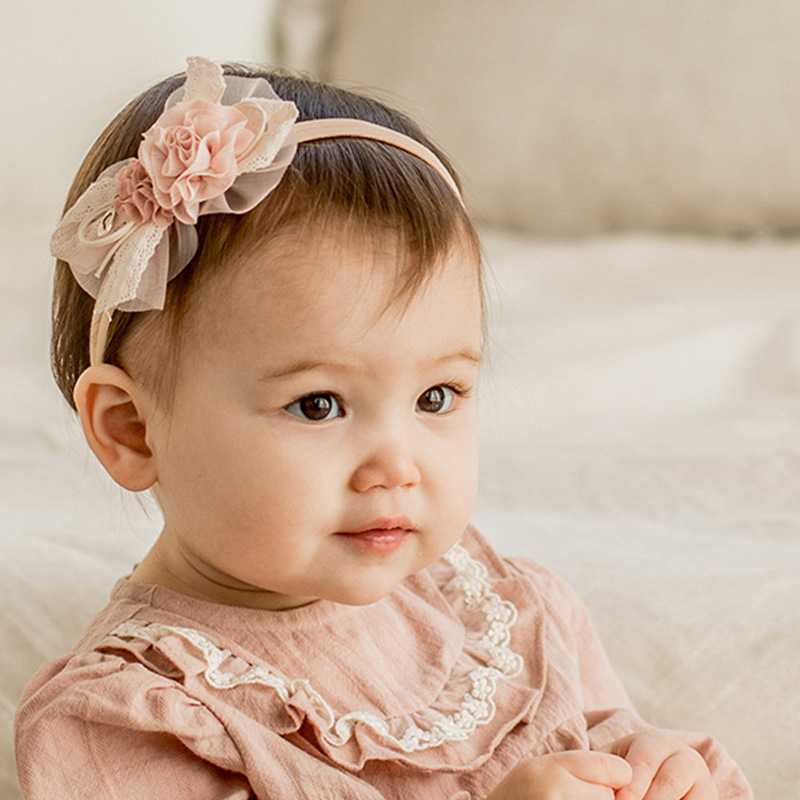 Baby Girl Headband Flower Headbands Infant Elastic Lace Hair Accessories Newborn Photo Props Kids Toddler Princess Hair Band