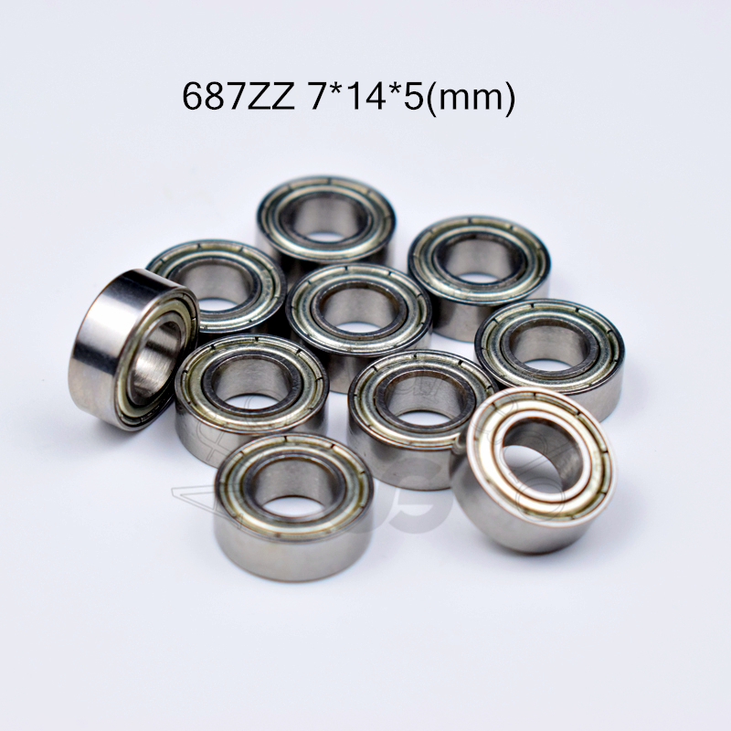 687zz 7*14*5(mm) 10pieces Bearing Metal Sealed  Free Shipping ABEC-5 Chrome Steel Miniature Bearings Hardware Transmission Parts