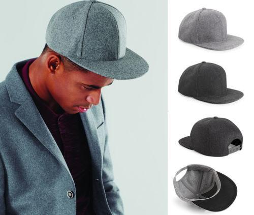 New Mens Beechfield Melton Wool Snapback Flat Peak Retro Style Boys Hats ceabd8d24c5