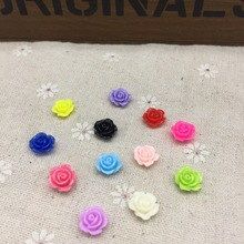 200pcs 10mm Resin Rose Flowers Embellishments For Cardmaking Scrapbooking DIY Flatbacks Cabochons Decorations 12 Colors