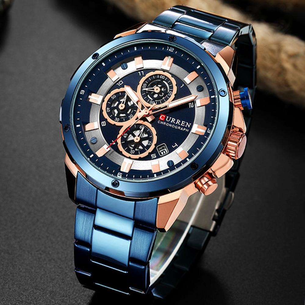 CURREN 8323 Chronograph Sport Watches for Men Business Casual Wristwatch with Calendar Quartz Men's Watch Male Clock Relojes