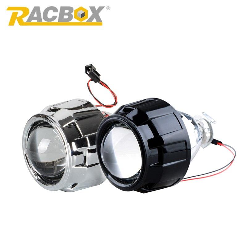 Prix pour Racbox 1 pcs 2.5 pouce lhd rhd bi xenon wst bixenon hid projecteur Lentille Argent Haubans H1 Ampoule H4 H7 Moto Auto Voiture phare