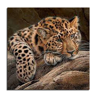 Small Leopard 30X30 DIY Diamond Embroidery Mosaic Painting Square Drill Full Rhinestone Drawing Fashion Decoration