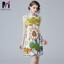 Merchall 2019 Fashion Runway Summer Dress Work Casual Party Slim O-neck Sleeveless Printed Women Mini thin Vintage Vestido