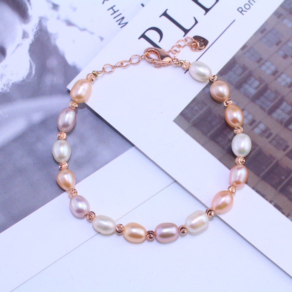 Fashion Pearl 6-7mm Mixed Color Natural Freshwater Pearl Bracelet Strong Light Colored Rice Female Pearl Bracelet