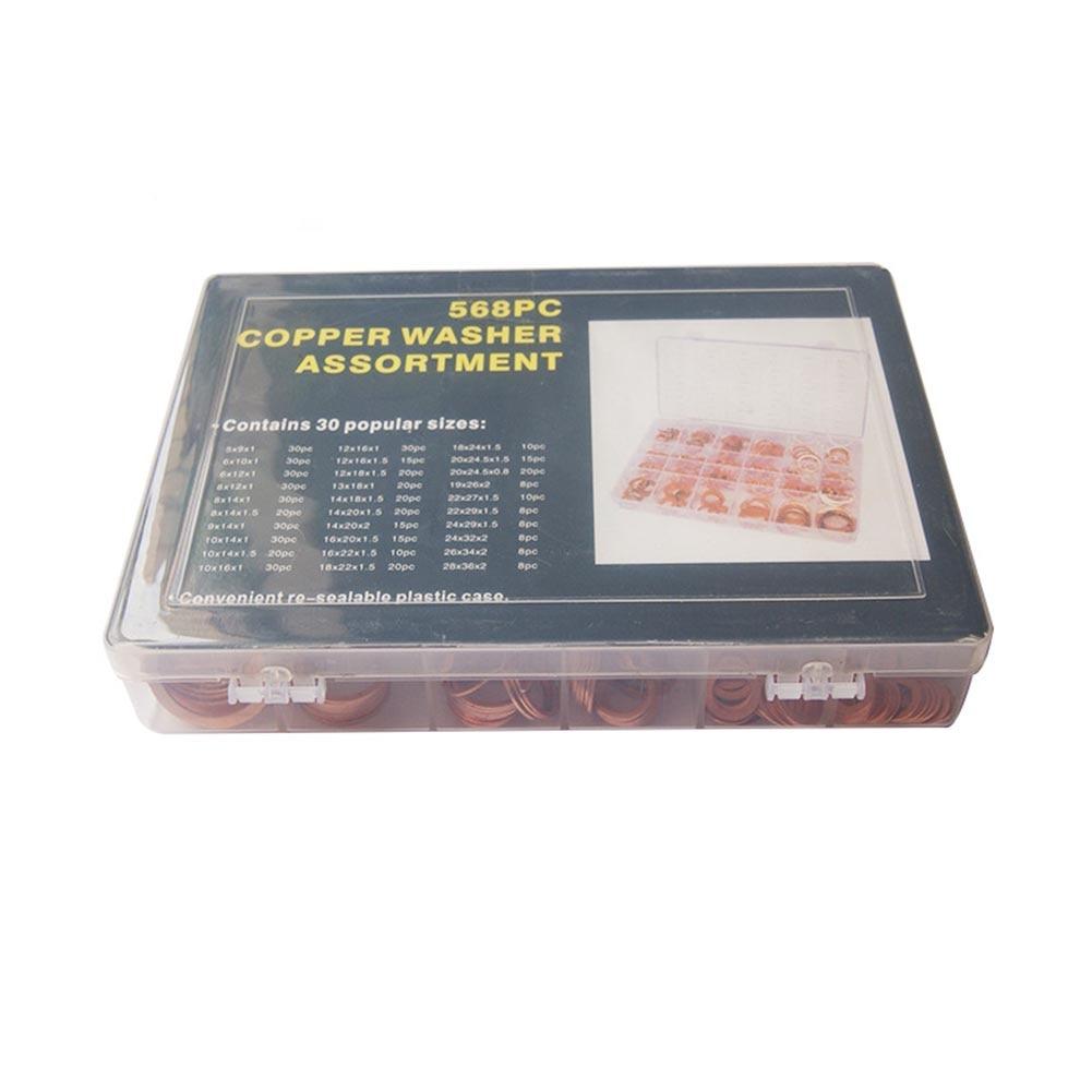 New Hot 568 pcs/boîte 30 Tailles Solide Cuivre Rondelles jeu de joints anneau plat bouchon de vidange Joint Assorties Rondelle Kit Avec boîte en plastique