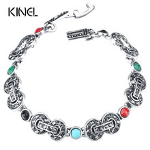 Kinel Brand Bohemia 8 Words Statement Bracelets Bangles For Women Silver Color Vintage Jewelry(China)