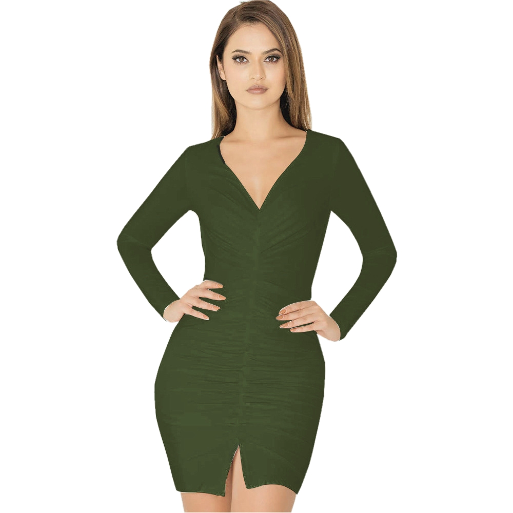 Women Long Sleeve Bodycon Dress Vestidos Robe Solid V-neck Drapped Fold Sexy Sheath Dresses Front Split Club Dresses FD6549