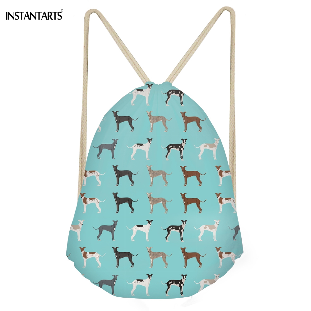 INSTANTARTS Funny Dog Greyhound Pattern Green Drawstring Bags For Teen Girls Casual Large Storage Beach Bags Softback Backpacks